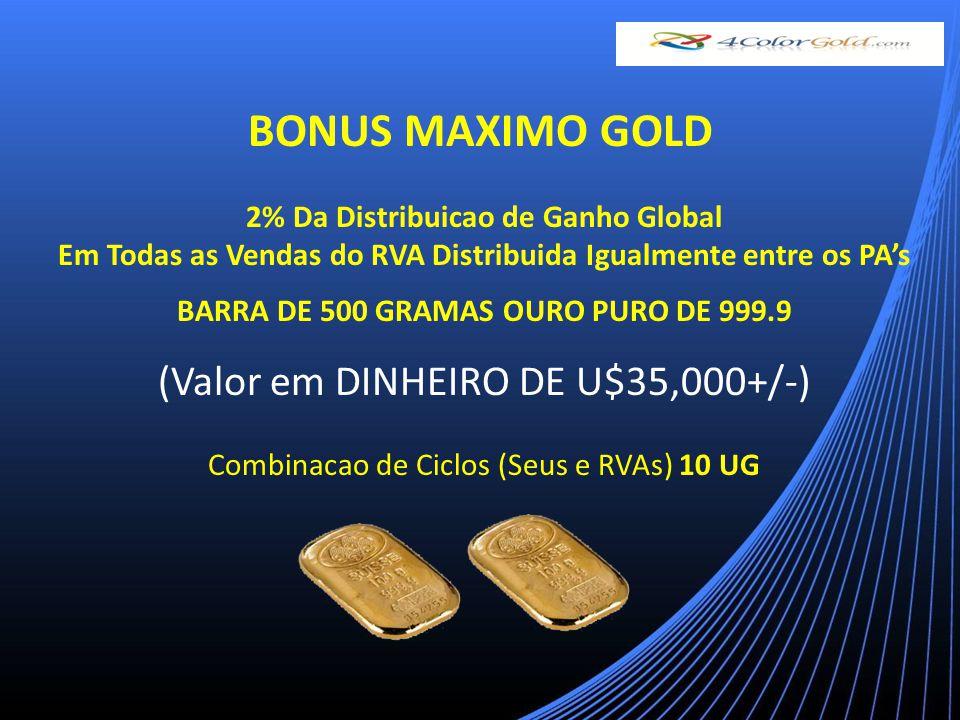 2% Da Distribuicao de Ganho Global Em Todas as Vendas do RVA Distribuida Igualmente entre os PAs BARRA DE 500 GRAMAS OURO PURO DE 999.9 (Valor em DINHEIRO DE U$35,000+/-) Combinacao de Ciclos (Seus e RVAs) 10 UG BONUS MAXIMO GOLD