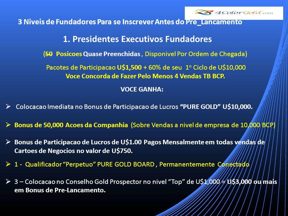 3 Niveis de Fundadores Para se Inscrever Antes do Pre_Lancamento 1.