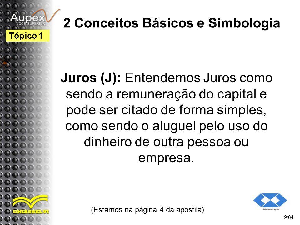 2 Conceitos Básicos e Simbologia Juros (J): Entendemos Juros como sendo a remuneração do capital e pode ser citado de forma simples, como sendo o aluguel pelo uso do dinheiro de outra pessoa ou empresa.
