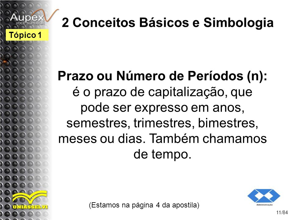 2 Conceitos Básicos e Simbologia Prazo ou Número de Períodos (n): é o prazo de capitalização, que pode ser expresso em anos, semestres, trimestres, bimestres, meses ou dias.