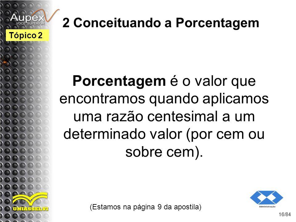 2 Conceituando a Porcentagem Porcentagem é o valor que encontramos quando aplicamos uma razão centesimal a um determinado valor (por cem ou sobre cem).