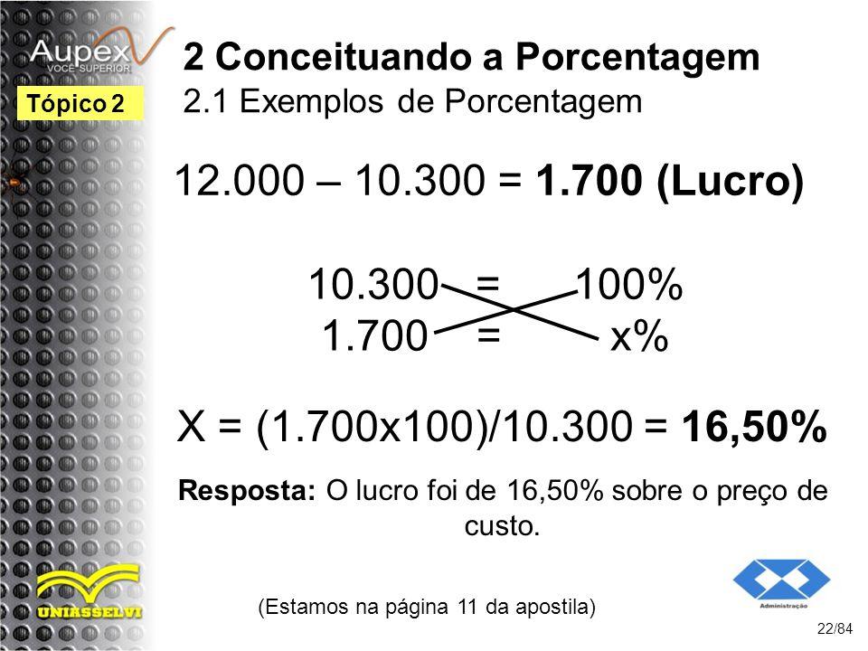 2 Conceituando a Porcentagem 2.1 Exemplos de Porcentagem 12.000 – 10.300 = 1.700 (Lucro) (Estamos na página 11 da apostila) 22/84 Tópico 2 10.300 = 100% 1.700 = x% X = (1.700x100)/10.300 = 16,50% Resposta: O lucro foi de 16,50% sobre o preço de custo.