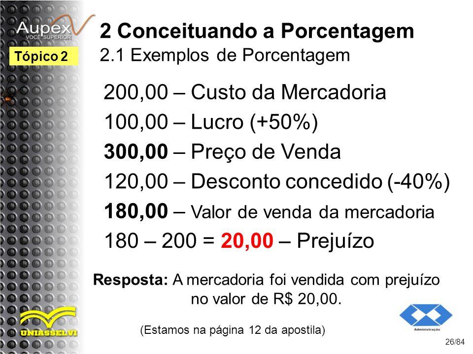 2 Conceituando a Porcentagem 2.1 Exemplos de Porcentagem 200,00 – Custo da Mercadoria (Estamos na página 12 da apostila) 26/84 Tópico 2 Resposta: A mercadoria foi vendida com prejuízo no valor de R$ 20,00.