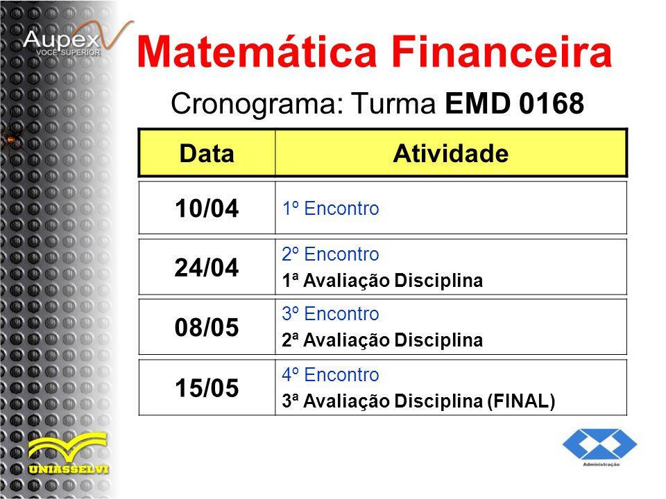 Cronograma: Turma EMD 0168 Matemática Financeira DataAtividade 24/04 2º Encontro 1ª Avaliação Disciplina 10/04 1º Encontro 08/05 3º Encontro 2ª Avaliação Disciplina 15/05 4º Encontro 3ª Avaliação Disciplina (FINAL)