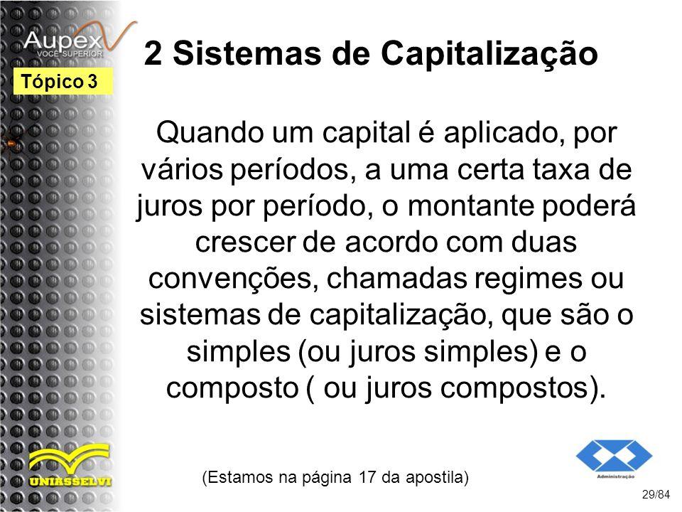 2 Sistemas de Capitalização Quando um capital é aplicado, por vários períodos, a uma certa taxa de juros por período, o montante poderá crescer de acordo com duas convenções, chamadas regimes ou sistemas de capitalização, que são o simples (ou juros simples) e o composto ( ou juros compostos).