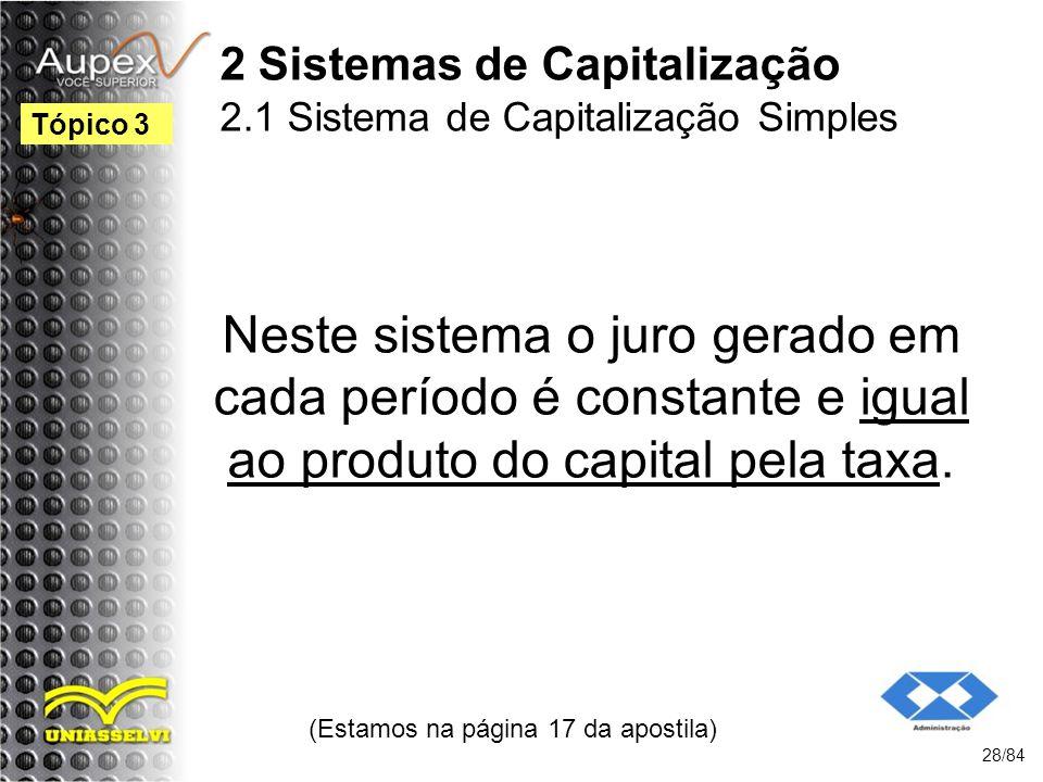 2 Sistemas de Capitalização 2.1 Sistema de Capitalização Simples Neste sistema o juro gerado em cada período é constante e igual ao produto do capital pela taxa.