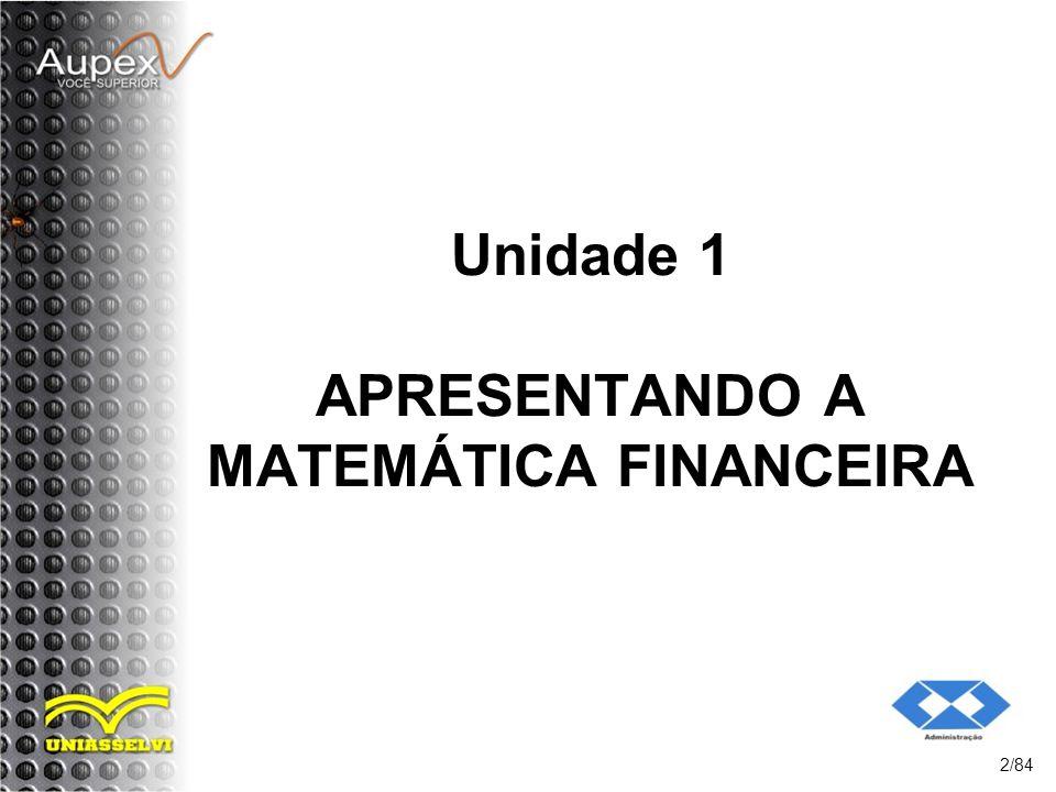 Objetivos da Unidade: Compreender o que é a matemática financeira, principais siglas e simbologias aplicadas; 3/84 Entender os regimes de capitalização simples e composto; Operar os cálculos básicos na calculadora financeira HP 12C.