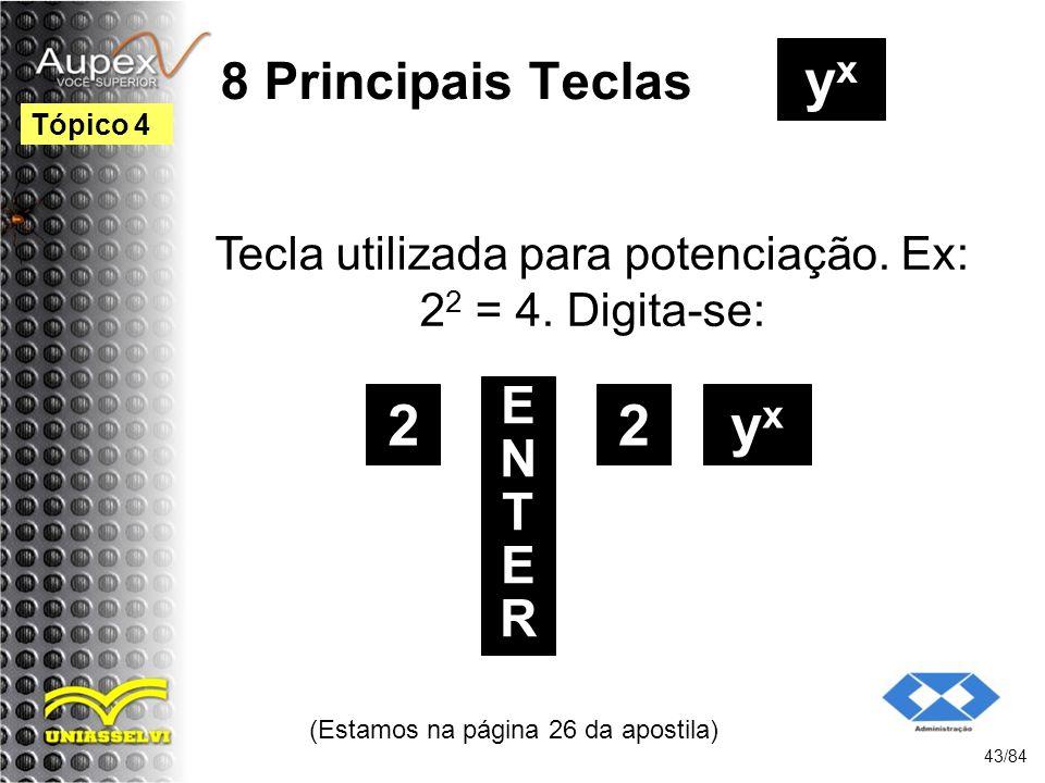 8 Principais Teclas Tecla utilizada para potenciação.
