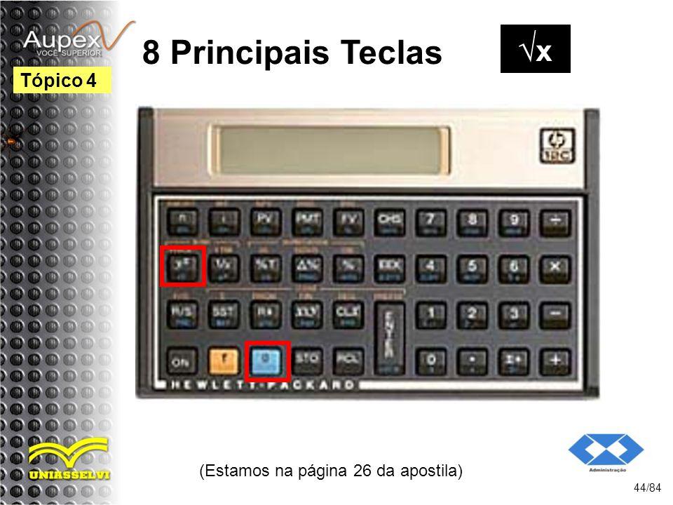 (Estamos na página 26 da apostila) 44/84 Tópico 4 8 Principais Teclas x