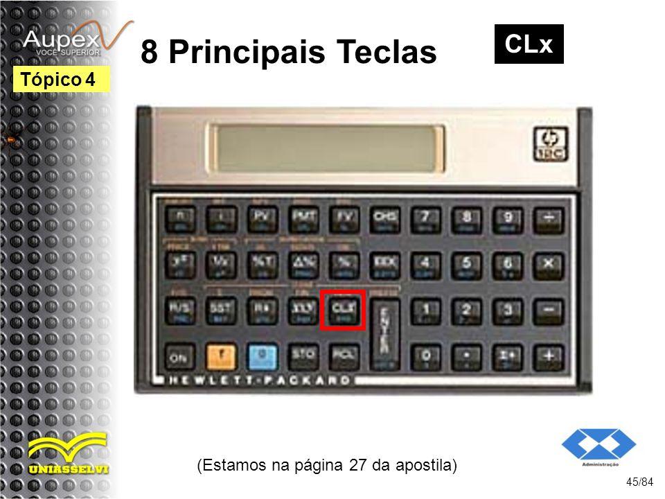 (Estamos na página 27 da apostila) 45/84 Tópico 4 8 Principais Teclas CLx