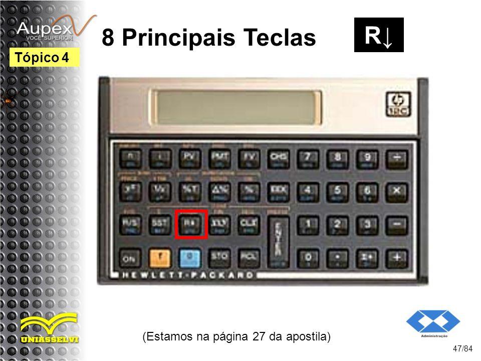 (Estamos na página 27 da apostila) 47/84 Tópico 4 8 Principais Teclas R