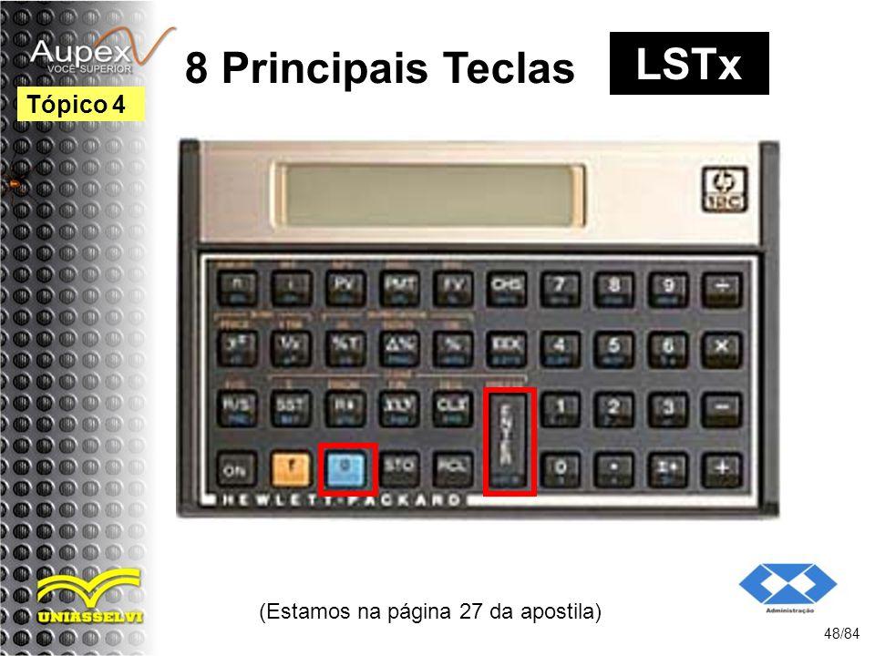 (Estamos na página 27 da apostila) 48/84 Tópico 4 8 Principais Teclas LSTx