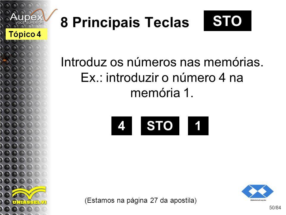 8 Principais Teclas Introduz os números nas memórias.
