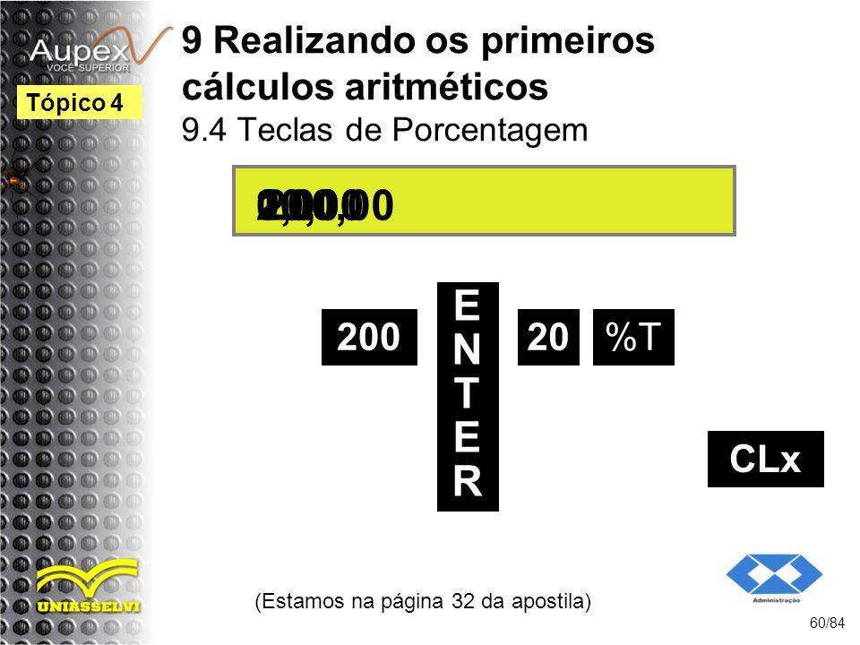 9 Realizando os primeiros cálculos aritméticos 9.4 Teclas de Porcentagem (Estamos na página 32 da apostila) 60/84 Tópico 4 200 ENTERENTER 20 200,00 10,000,00 %T 20,00 CLx