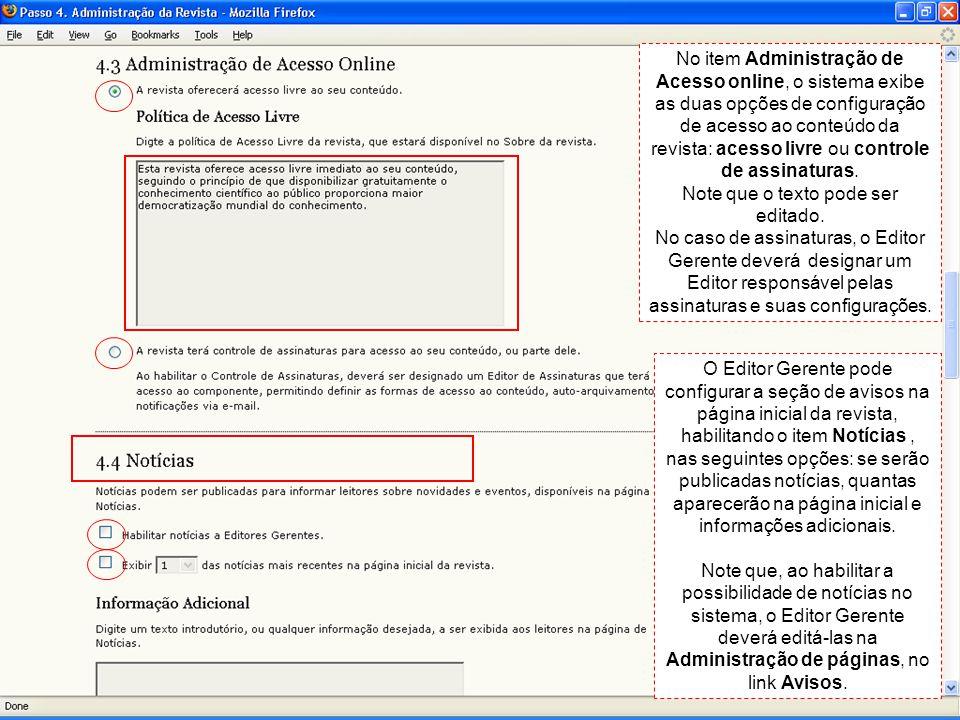 No item Administração de Acesso online, o sistema exibe as duas opções de configuração de acesso ao conteúdo da revista: acesso livre ou controle de assinaturas.