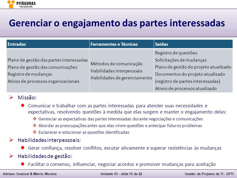 Adriano Graziosi & Márcio MoreiraUnidade 03 - slide 15 de 22Gestão de Projetos de TI - GPTI Gerenciar o engajamento das partes interessadas Missão: Co