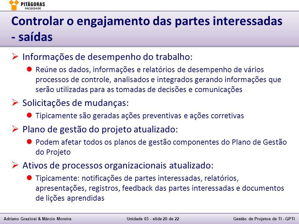 Adriano Graziosi & Márcio MoreiraUnidade 03 - slide 20 de 22Gestão de Projetos de TI - GPTI Controlar o engajamento das partes interessadas - saídas I