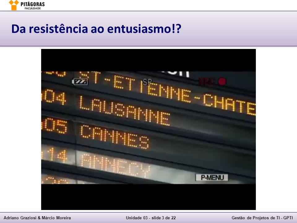 Adriano Graziosi & Márcio MoreiraUnidade 03 - slide 3 de 22Gestão de Projetos de TI - GPTI Da resistência ao entusiasmo!?