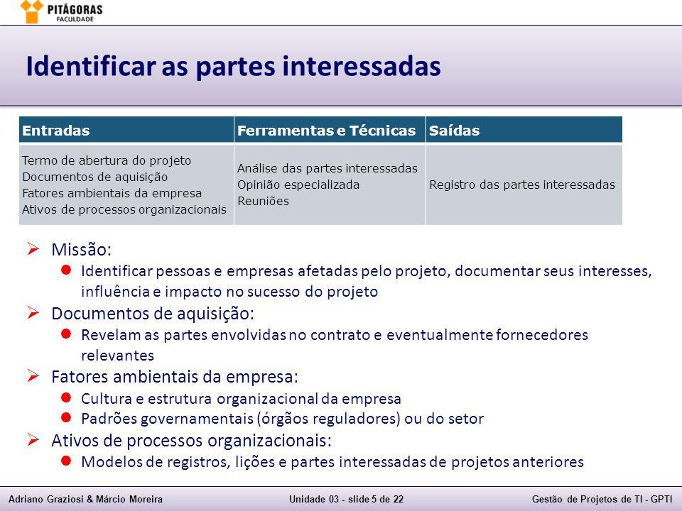 Adriano Graziosi & Márcio MoreiraUnidade 03 - slide 5 de 22Gestão de Projetos de TI - GPTI Identificar as partes interessadas Missão: Identificar pess