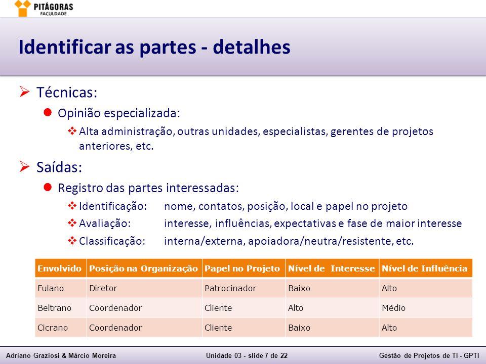 Adriano Graziosi & Márcio MoreiraUnidade 03 - slide 8 de 22Gestão de Projetos de TI - GPTI Exemplos de questões 1) Qual combinação abaixo de partes interessadas normalmente representa maior risco de problemas.