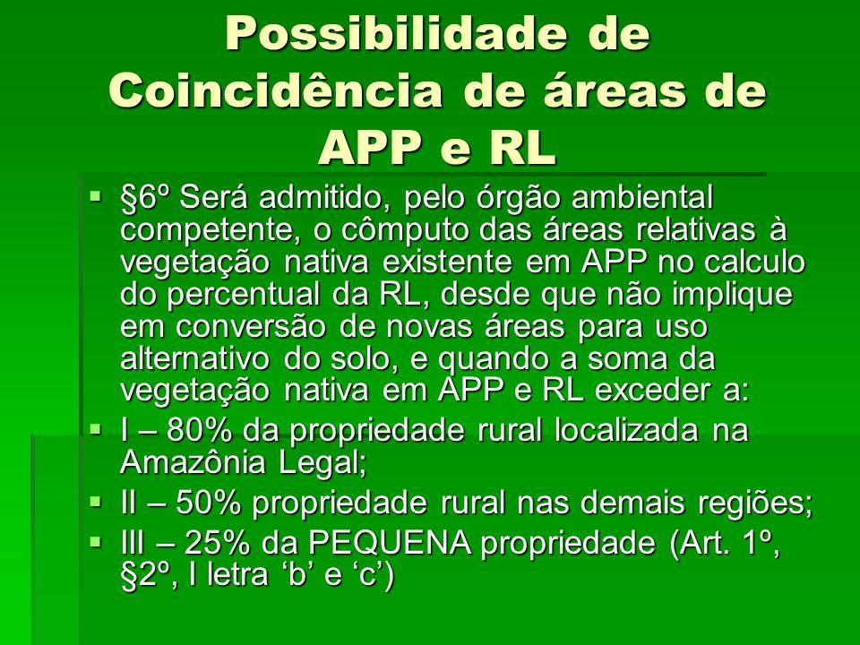 Possibilidade de Coincidência de áreas de APP e RL §6º Será admitido, pelo órgão ambiental competente, o cômputo das áreas relativas à vegetação nativ