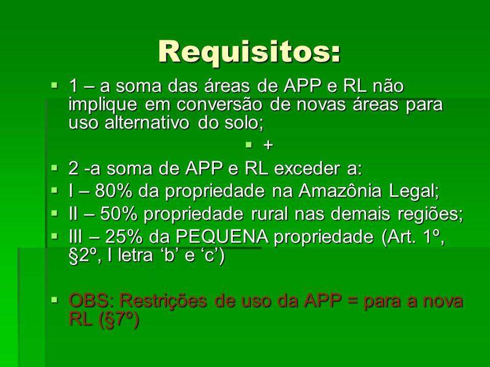 Requisitos: 1 – a soma das áreas de APP e RL não implique em conversão de novas áreas para uso alternativo do solo; 1 – a soma das áreas de APP e RL n