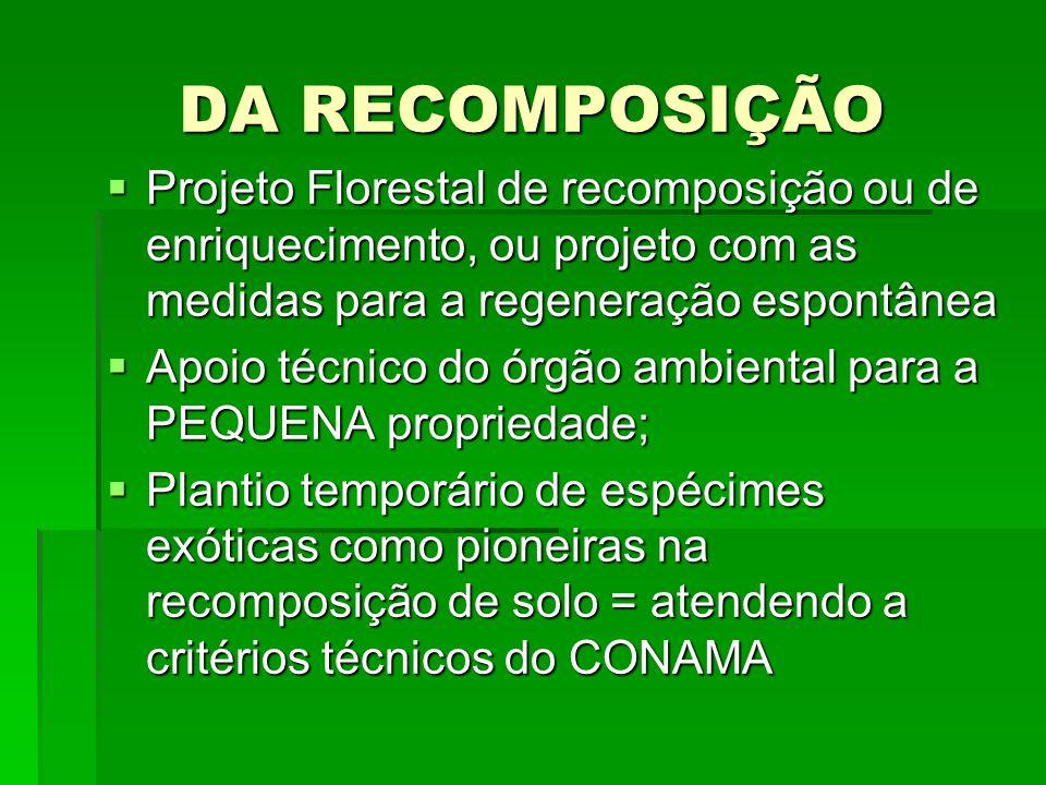 DA RECOMPOSIÇÃO Projeto Florestal de recomposição ou de enriquecimento, ou projeto com as medidas para a regeneração espontânea Projeto Florestal de r