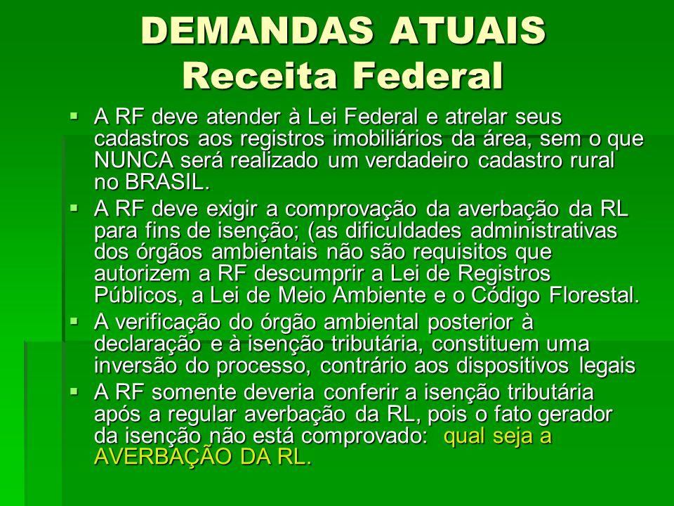 DEMANDAS ATUAIS Receita Federal A RF deve atender à Lei Federal e atrelar seus cadastros aos registros imobiliários da área, sem o que NUNCA será real