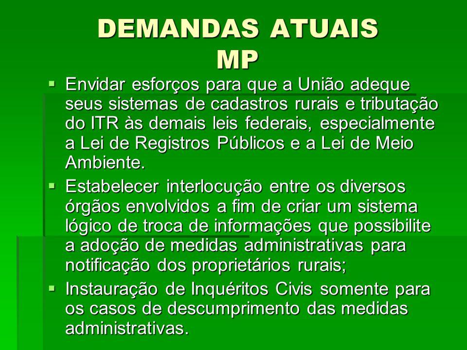 DEMANDAS ATUAIS MP Envidar esforços para que a União adeque seus sistemas de cadastros rurais e tributação do ITR às demais leis federais, especialmen