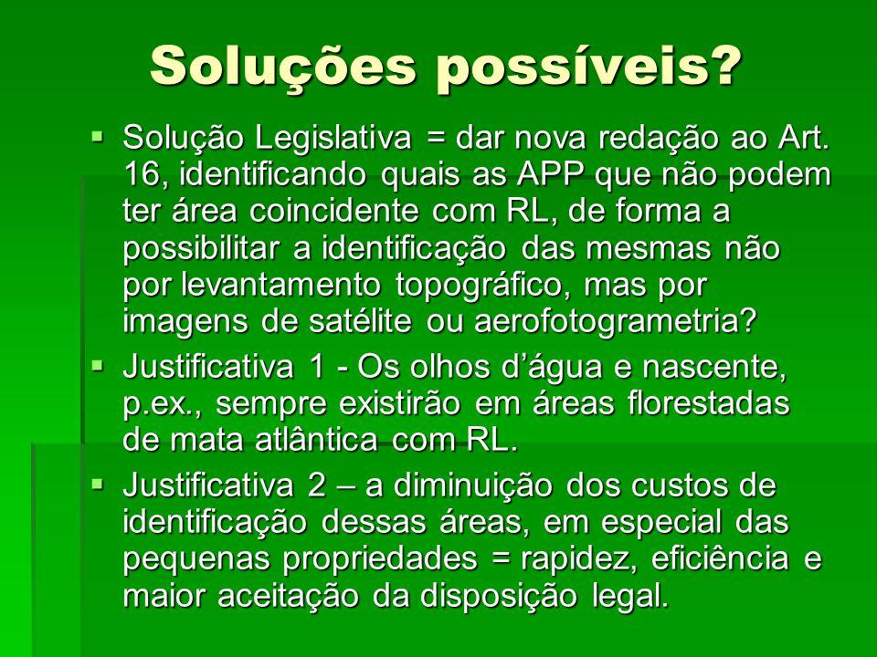 Soluções possíveis? Solução Legislativa = dar nova redação ao Art. 16, identificando quais as APP que não podem ter área coincidente com RL, de forma