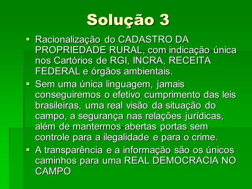 Solução 3 Racionalização do CADASTRO DA PROPRIEDADE RURAL, com indicação única nos Cartórios de RGI, INCRA, RECEITA FEDERAL e órgãos ambientais. Racio
