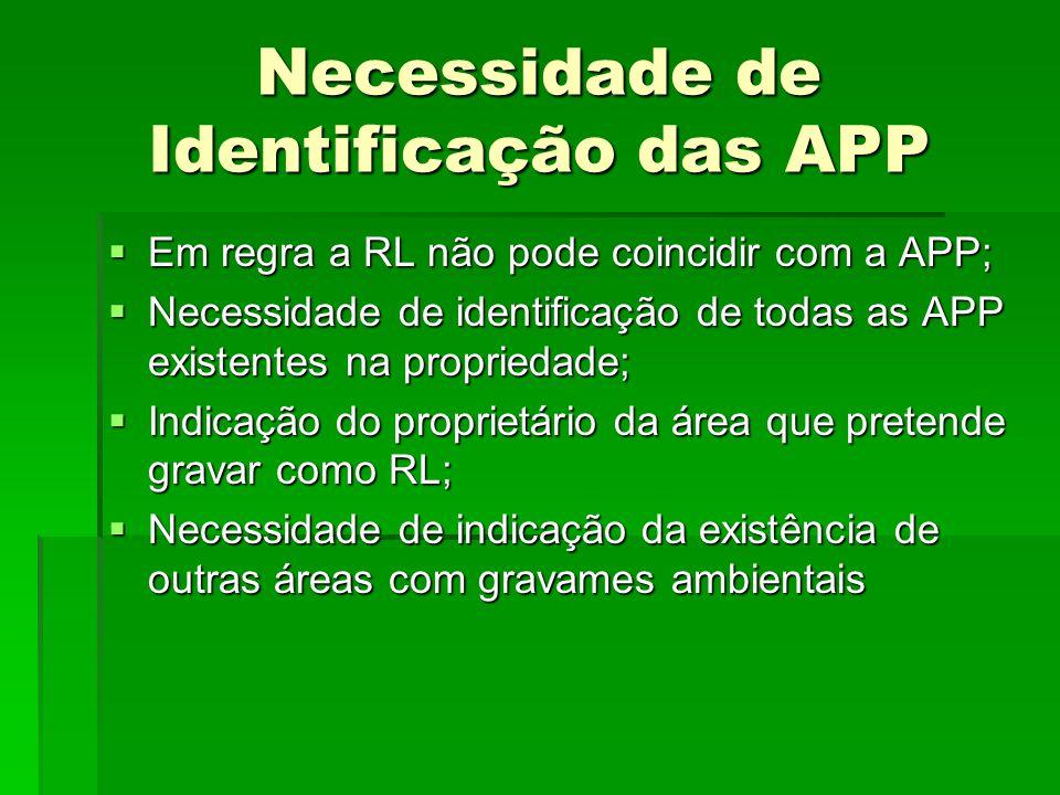 Necessidade de Identificação das APP Em regra a RL não pode coincidir com a APP; Em regra a RL não pode coincidir com a APP; Necessidade de identifica