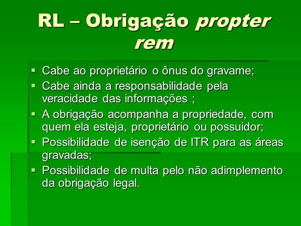 RL – Obrigação propter rem Cabe ao proprietário o ônus do gravame; Cabe ao proprietário o ônus do gravame; Cabe ainda a responsabilidade pela veracida