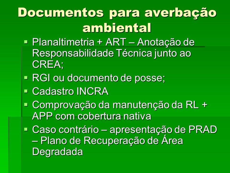 Documentos para averbação ambiental Planaltimetria + ART – Anotação de Responsabilidade Técnica junto ao CREA; Planaltimetria + ART – Anotação de Resp