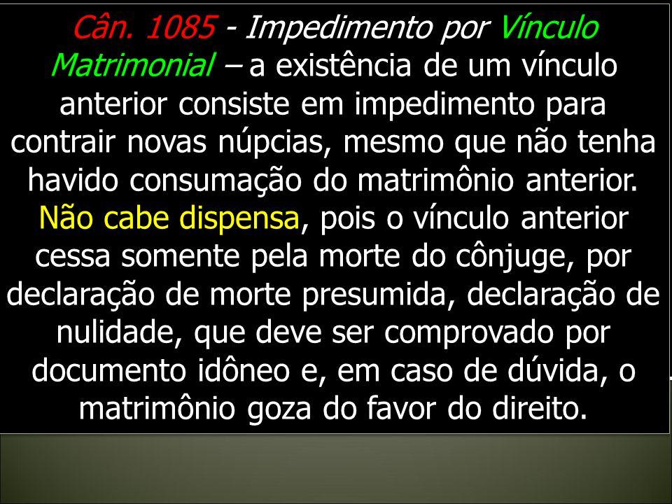 Cân.1084, § 1. – Impedimento por Impotência – Esse estado consiste na incapacidade antecedente e perpétua, quer absoluta, quer relativa, de realizar a