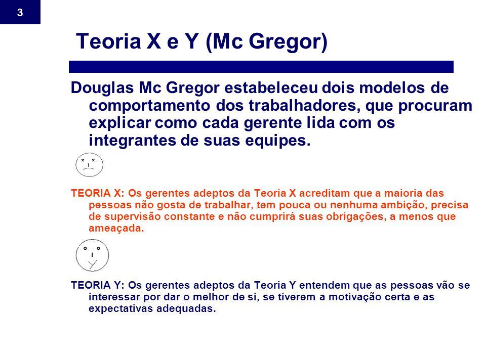 3 Teoria X e Y (Mc Gregor) Douglas Mc Gregor estabeleceu dois modelos de comportamento dos trabalhadores, que procuram explicar como cada gerente lida