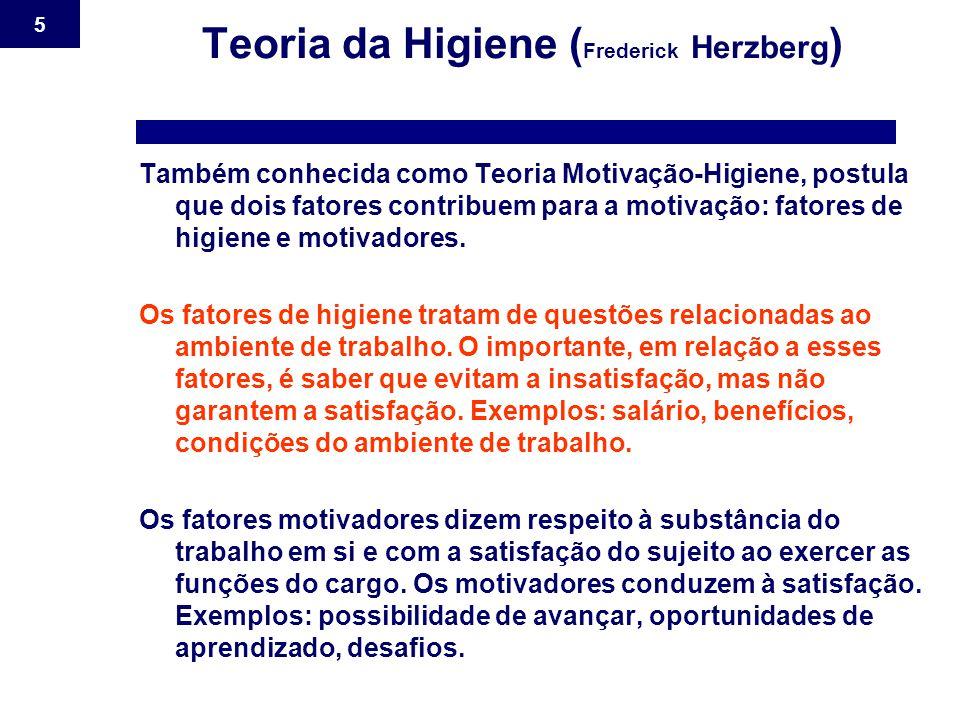 5 Teoria da Higiene ( Frederick Herzberg ) Também conhecida como Teoria Motivação-Higiene, postula que dois fatores contribuem para a motivação: fator