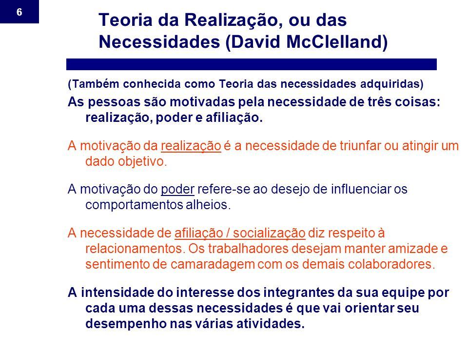 6 Teoria da Realização, ou das Necessidades (David McClelland) (Também conhecida como Teoria das necessidades adquiridas) As pessoas são motivadas pel