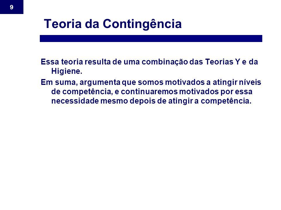9 Teoria da Contingência Essa teoria resulta de uma combinação das Teorias Y e da Higiene. Em suma, argumenta que somos motivados a atingir níveis de
