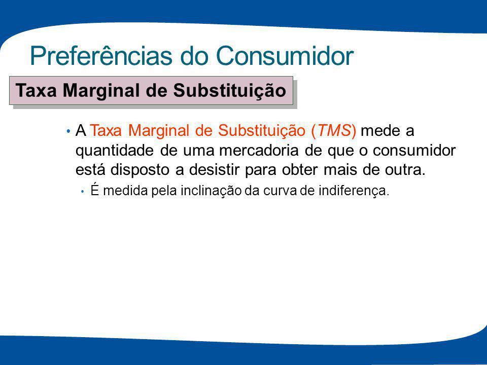 Preferências do Consumidor A Taxa Marginal de Substituição (TMS) mede a quantidade de uma mercadoria de que o consumidor está disposto a desistir para
