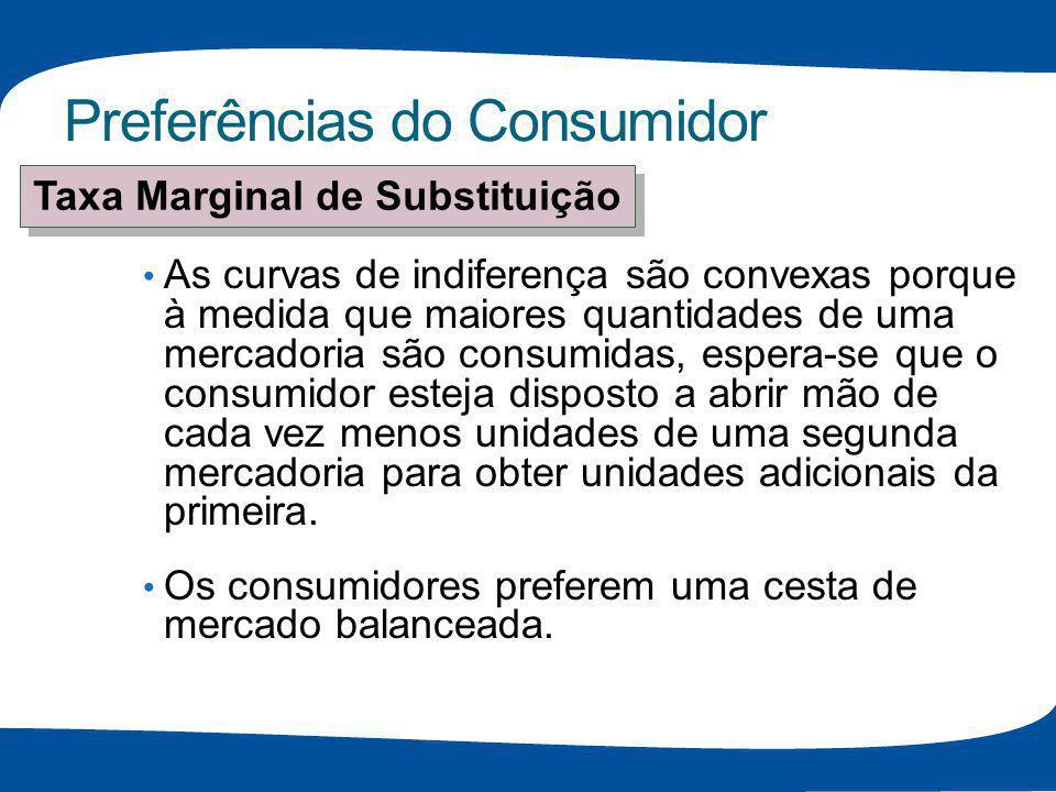 Preferências do Consumidor As curvas de indiferença são convexas porque à medida que maiores quantidades de uma mercadoria são consumidas, espera-se q