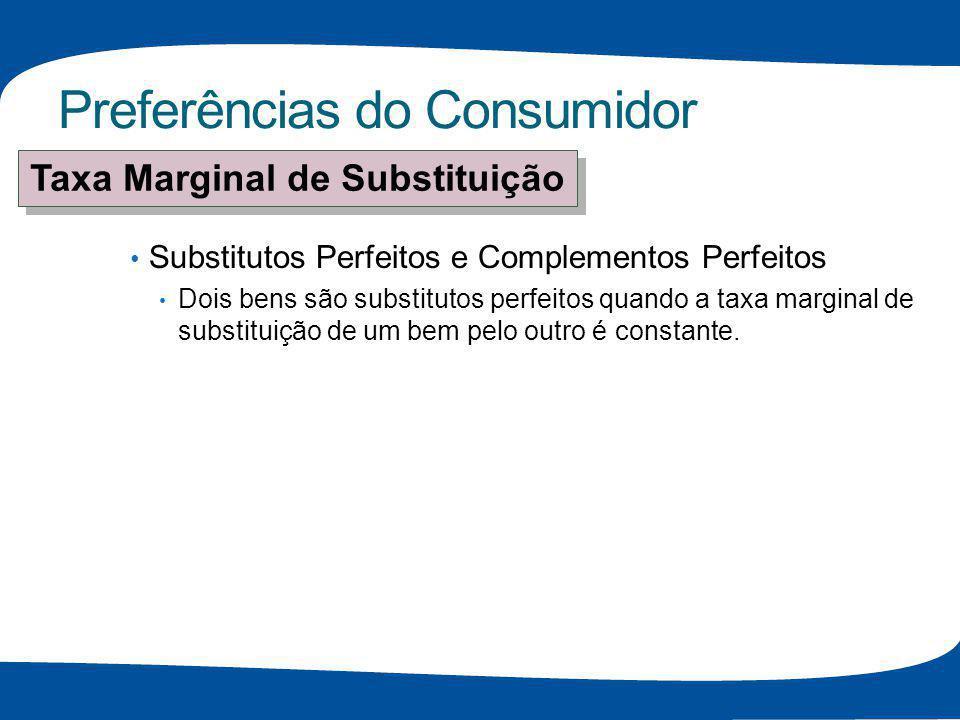 Preferências do Consumidor Substitutos Perfeitos e Complementos Perfeitos Dois bens são substitutos perfeitos quando a taxa marginal de substituição d