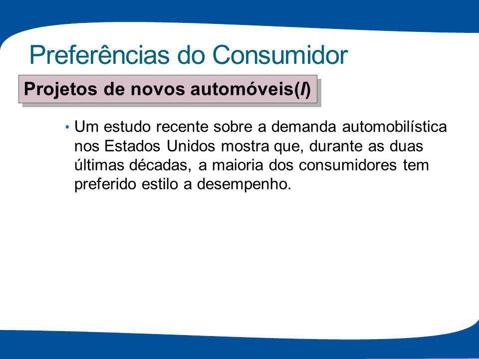 Preferências do Consumidor Um estudo recente sobre a demanda automobilística nos Estados Unidos mostra que, durante as duas últimas décadas, a maioria