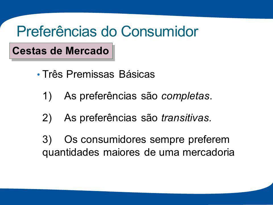 Preferências do Consumidor Funções de Utilidade Suponha: Função de utilidade para alimento (A) e vestuário (V) U(A,V) = A + 2V Cestas de mercado : unid.de A unid.de V U(A,V) = A + 2V A 8 3 8 + 2(3) = 14 B 6 4 6 + 2(4) = 14 C 4 4 4 + 2(4) = 12 O consumidor é indiferente entre A & B O consumidor prefere A & B a C