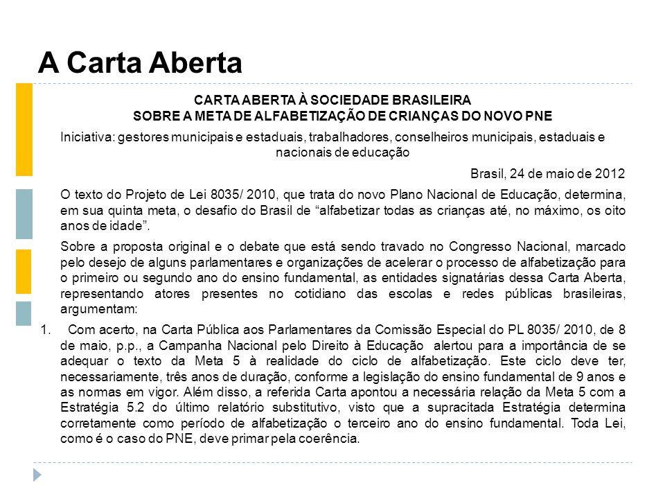 A Carta Aberta CARTA ABERTA À SOCIEDADE BRASILEIRA SOBRE A META DE ALFABETIZAÇÃO DE CRIANÇAS DO NOVO PNE Iniciativa: gestores municipais e estaduais,