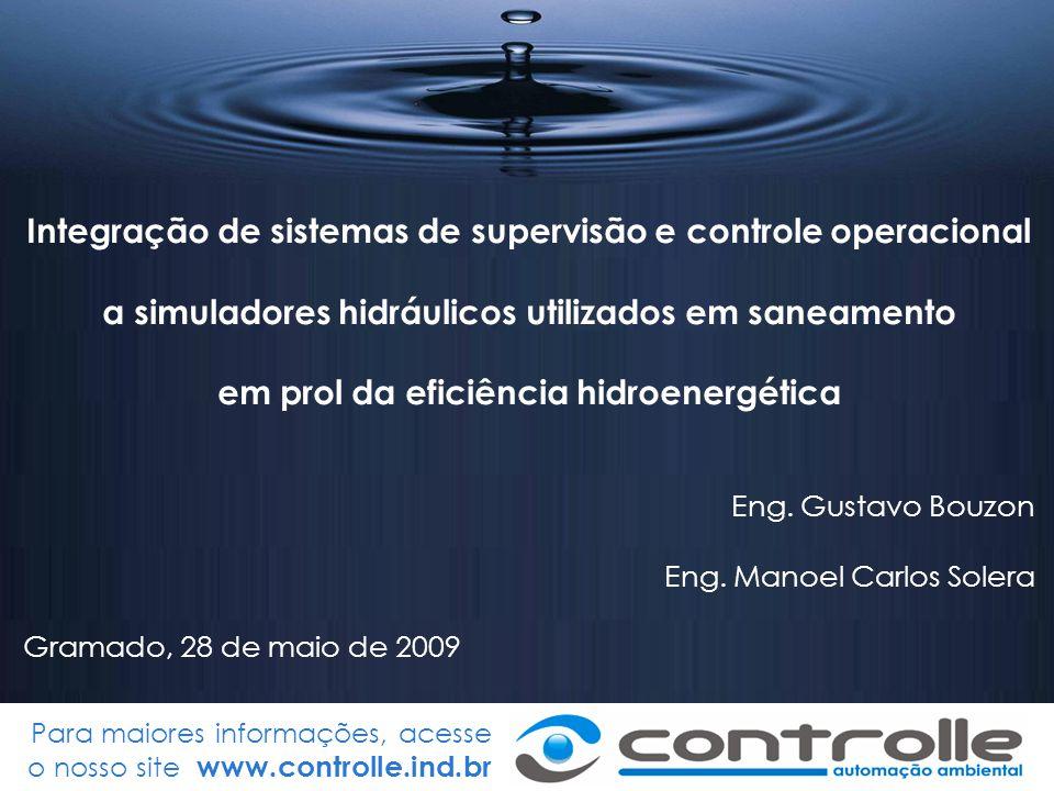Para maiores informações, acesse o nosso site www.controlle.ind.br Integração de sistemas de supervisão e controle operacional a simuladores hidráulic