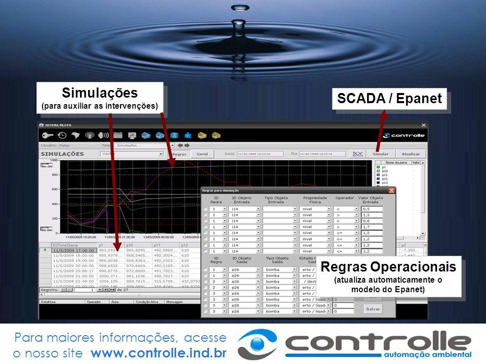 Para maiores informações, acesse o nosso site www.controlle.ind.br SCADA / Epanet Simulações (para auxiliar as intervenções) Simulações (para auxiliar