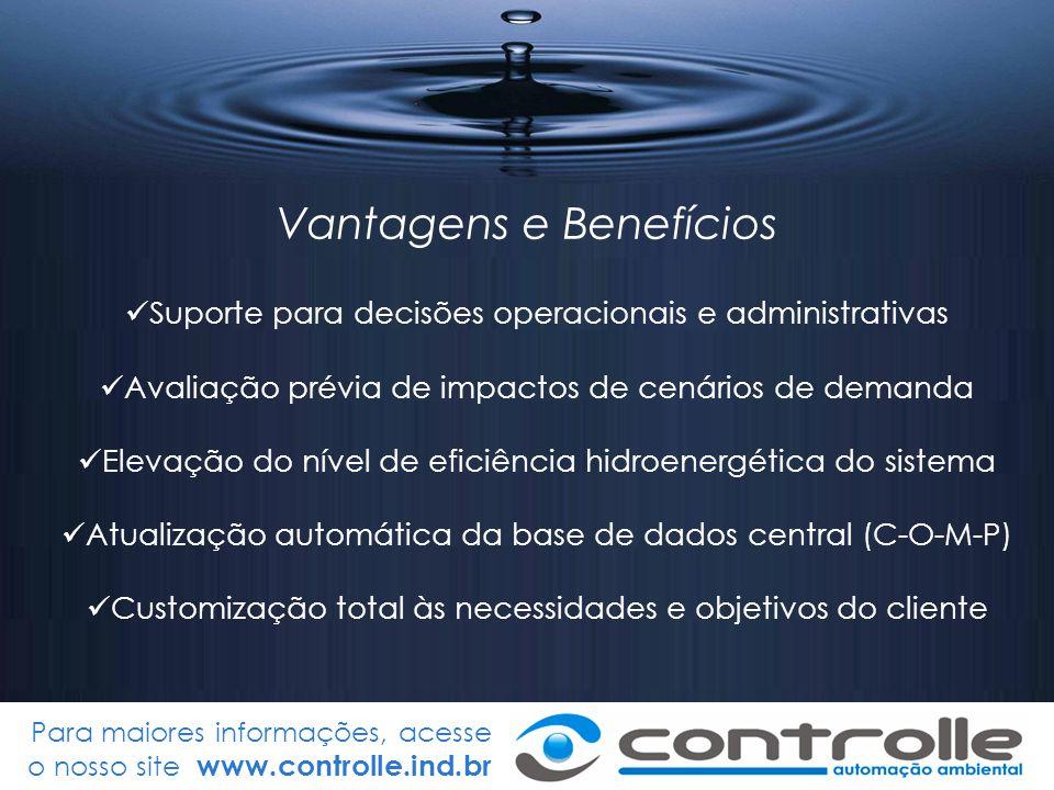 Para maiores informações, acesse o nosso site www.controlle.ind.br Vantagens e Benefícios Suporte para decisões operacionais e administrativas Avaliaç