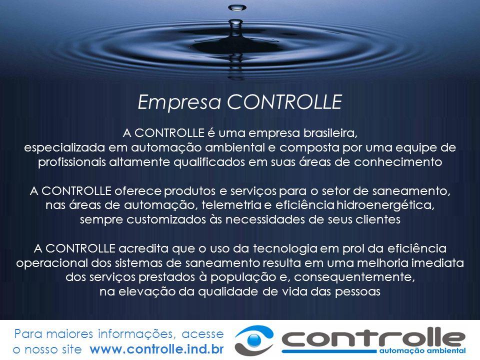 Para maiores informações, acesse o nosso site www.controlle.ind.br SCADA / Epanet Simulações (para auxiliar as intervenções) Simulações (para auxiliar as intervenções) Regras Operacionais (atualiza automaticamente o modelo do Epanet) Regras Operacionais (atualiza automaticamente o modelo do Epanet)