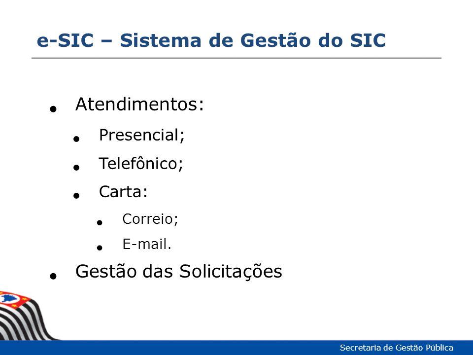 Atendimentos: Presencial; Telefônico; Carta: Correio; E-mail. Gestão das Solicitações e-SIC – Sistema de Gestão do SIC Secretaria de Gestão Pública